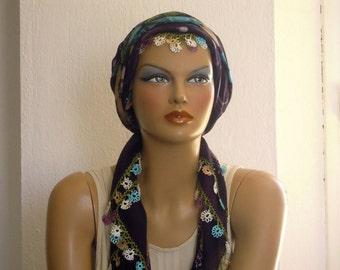 turkish scarf, crochet trim, aubergine plum