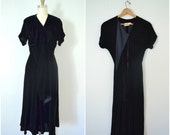 1950s black velvet dress // saks fifth avenue winter party gown //