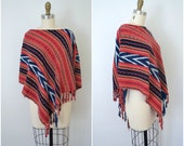 vintage bright ikat shawl // red black and blue coverall cape // small medium large