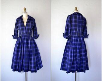 1950s school teacher blue paid dress / blue and black shirtwaist dress / small