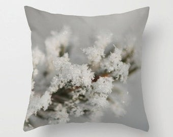 Winter Photo Throw Pillow Cover, Earthy Chic Home Decor, Designer Decorative Cushion, Aluminum Grey, Hoarfrost, Frosted Branches, Mens Gift