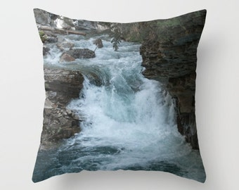 Waterfall Pillow Cover, Nautical Lodge Chair Accent, Turquoise Living Room Sofa Throw Cushion Case, Teal Cottage Theme, Lake House Art