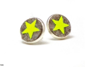 Ear studs made of wool felt with neon yellow star, neon ear studs, felt ear studs, earrings