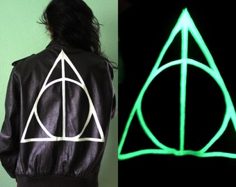 Deathly Hallows / Painted - Glow in the Dark / Vintage Leather Jacket