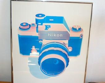 "1979 ""Kodachrome"" a Lithograph from an Original Screen Print by Anne Laddon, Alexandria Virginia ~ Silver metal frame"