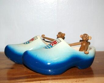 Vintage Zeeland Netherlands Holland hand painted Wooden Souvenir Clogs