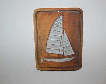 Rare Vintage Victoria Littlejohn, NW, Artist ceramic / stoneware Sailboat Trivet / Tile / Wall Decoration