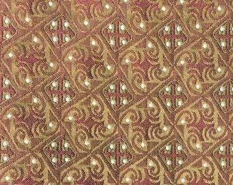 Golden Tan and Terracotta Rust Woven Fabric - Geometric Rust and Gold Designer Fabric - Woven Medallion Cross Fabric - Fabric Yardage