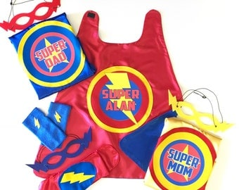 New FAMILY SUPERHERO Cape Set - Includes 2 Adult Capes - 1 Personalized Initial Kid Cape -3 Hero Masks + hero belt - Child Fingerless Gloves