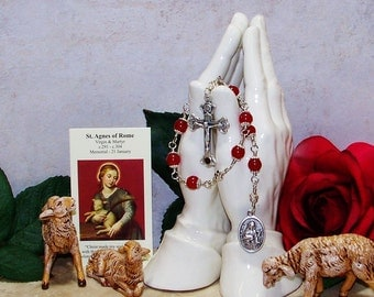Unbreakable Catholic Relic Chaplet of St. Agnes of Rome - Patron Saint of Gardeners, Betrothed Couples, Girls, Girl Scouts and Rape Victims