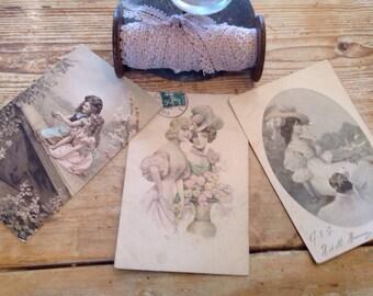 Antique French Postcards Romantic Hand Painted Vintage Wedding / Edwardian Elegance