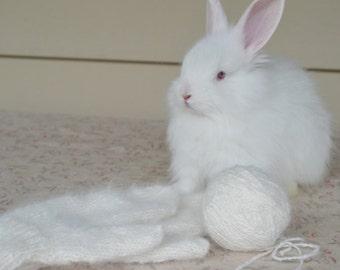 100%  Angora Rabbit Mittens - Small/Medium in  Natural White