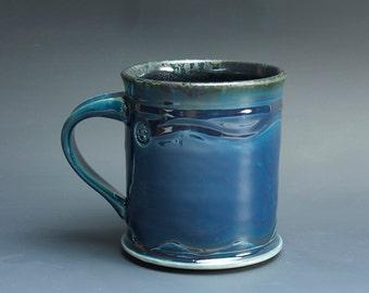 Pottery coffee mug, ceramic mug, stoneware tea cup navy blue 16 oz 3540