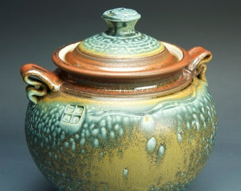 Handmade pottery cookie kitchen storage jar mottled blue green 3307
