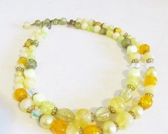 25% OFF SALE Vintage 1960's Yellow Layered Necklace / 50's 60's Retro Beaded Double Strand Choker Necklace