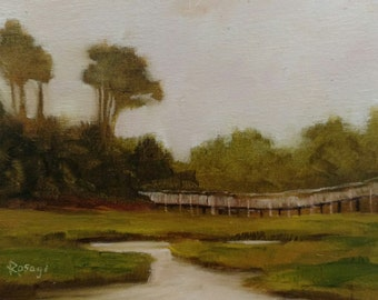 Cedar Point Marsh #2... NC Landscape... Original Daily Painting by Rosage...6x8""