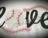 LOVE Baseball Mom Shirt--Lots of sparkle and bling