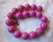 Vintage Choker Style Bubble Gum Pink Plastic Beaded Necklace