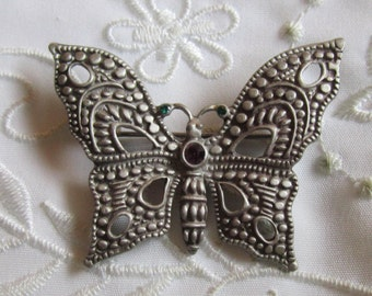 Vintage Pewter Butterfly Brooch with Tiny Amethyst and Green Rhinestones