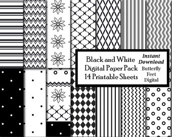 Black and White Digital Paper, 14 Printable Designs, Instant Download
