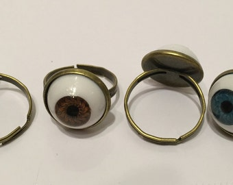 Eyeball Doll Eye Ring 14mm Brass Finish Base Adjustable Available in 4 Colors Great 4 Goth Steampunk Cosplay