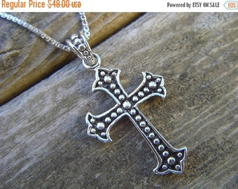 ON SALE Medieval Cross necklace in sterling silver