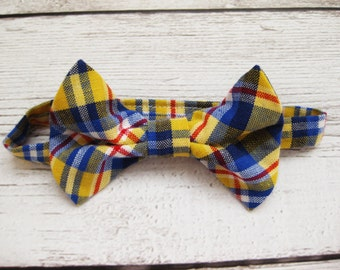 SALE 50% OFF Plaid boys bow tie toddler fabric bow tie blue yellow bow tie Velcro adjustable bow tie- Beach Boy