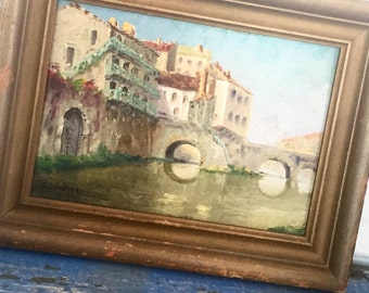 Antique Vintage French Oil Painting France French Seaside Gabriel Augizeau