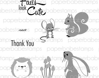Whimsical Woodland Stamp Set 3(bunny) - Paperbabe Stamps - Clear Photopolymer Stamps - For paper crafting and scrapbooking.