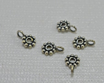 Antique sterling silver daisy spacer with loop, 5mm - #1916