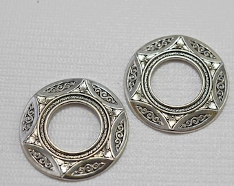Round silver plated pewter ornate focal pendants, not drilled, 36mm - #1961
