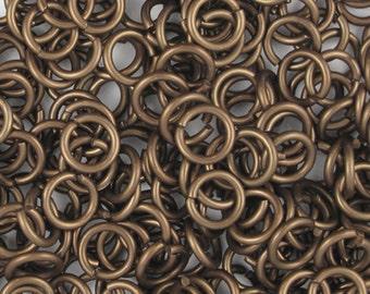 Bronze aluminum jump rings, 18G, 6.4mm - #1035