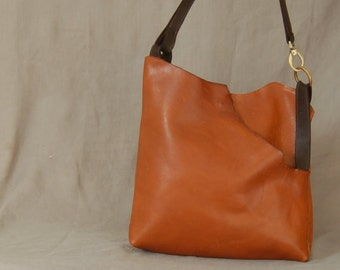 Made to Order Similar to: Poney X Bag no. 57 dark orange italian pebbled  leather