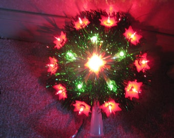 Vintage Lighted Wreath With Red Flowers Christmas Tree Topper