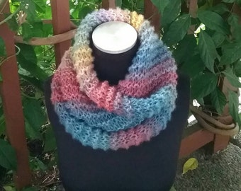 Hand Knit Infinity Cowl Scarf in Shades of Roses and Blueberries