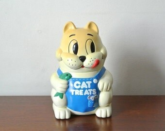25% OFF SALE Vintage Meowing Cat Treat Jar