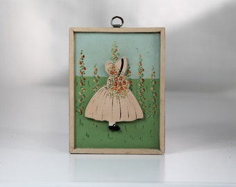 Vintage Little Girl Picture Painting - 1930's Pink Wood Wall Hanging - Pretty Cottage Style