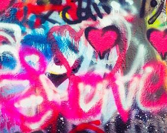 Love, Graffiti Art Photo, Fine Art Photography, Hearts, Modern Wall Decor, Spray Paint, Hip Hop Culture, Street Art, Childrens Room,Hot Pink