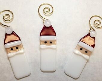 Fused Glass Santa Ornaments, Set of 3