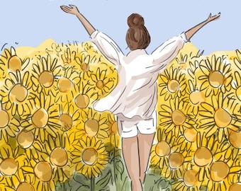 Wall Art for Women - Hello Weekend In The Sunflower Field -  Digital Art Print -  Wall Art -- Print