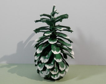 """7 1/2"""" Natural Large Long Leaf Pine Cone Hand Painted Green Ecofriendly Eco Craft Table Decoration Winter Holiday Theme Wedding Snow Display"""