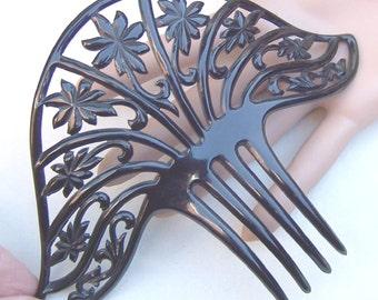 Art Deco hair comb black celluloid Spanish comb hair accessory hair jewellery headdress headpiece decorative comb