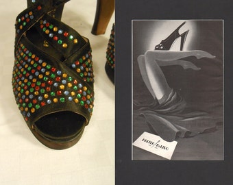 Put the Blame On These Shoes - Vintage 1940s NOS Multi Colour Rhinestone Black Platform Heels Shoes - 4B