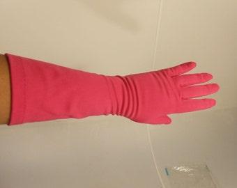These Nights Get Hotter - Vintage 1950s Van Raalte Hot Bright Pink Long Mid Arm Gloves - 7