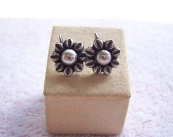 Sterling Silver Flower Pierced Earrings Hand Crafted Boho