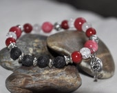 Valentine's Day 'key to my heart' Diffusing Lava Bead Stretch Bracelet