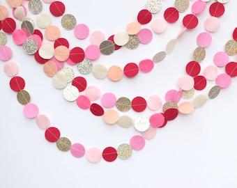 Valentine's Day felt and glitter circle garland