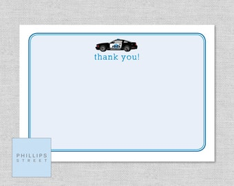 printable POLICE thank you cards - rescue vehicle - thanks - kids stationery - instant download