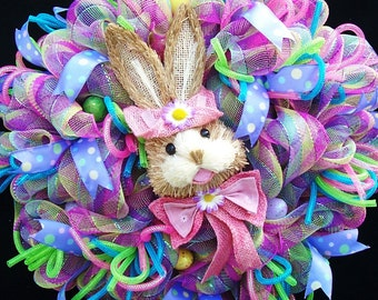 Easter Deco Mesh Bunny Wreath Door Wreath Wall Decor