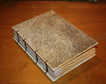 Faux Fur Journal with coptic stitch binding, Rustic Wedding Guest Book, Animal Print Book, Bound Book,  Christmas Memory Album